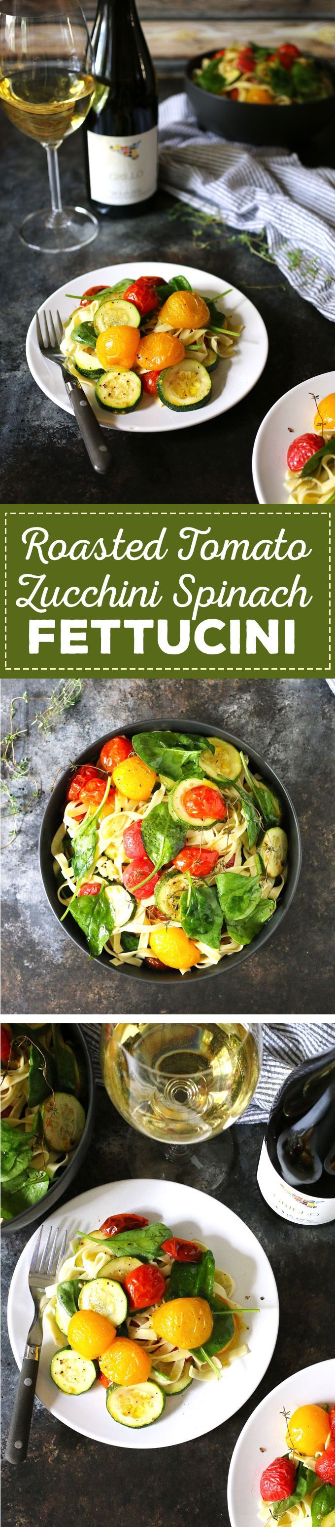 Roasted Tomato Zucchini Spinach Fettucini This roasted tomato zucchini spinach fettucini recipe is the perfect way to use your farmers market purchases and endofsummer ga...