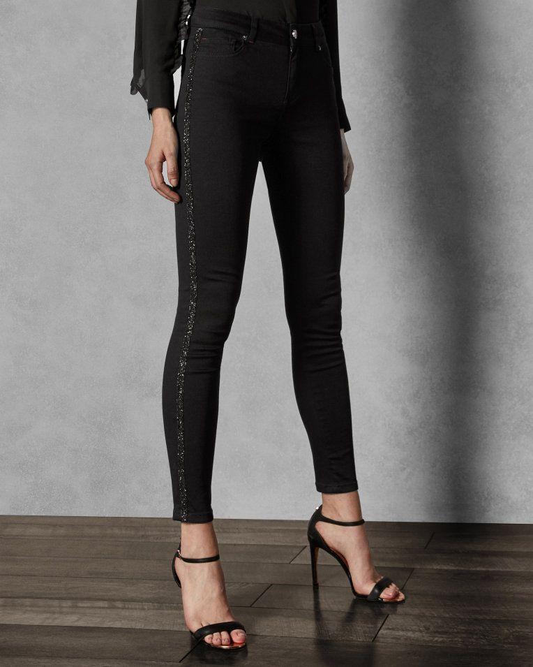 ed9c68c4e73b3 Crystal stripe skinny jeans - Black