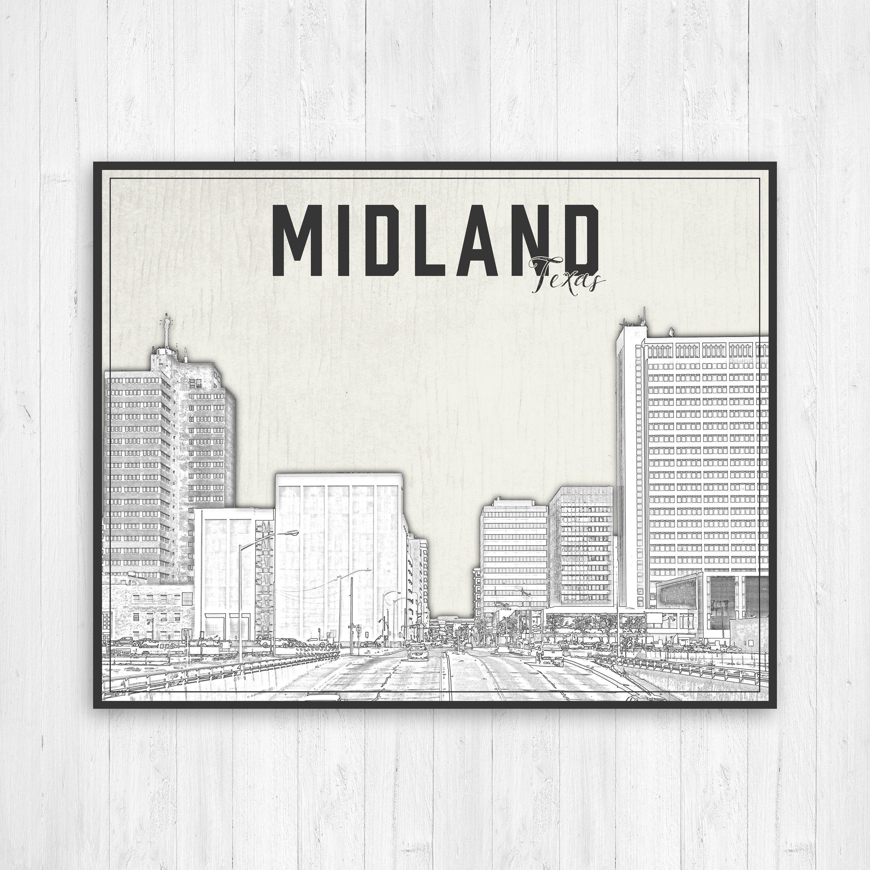 Midland Texas Illustration City Print Midland Texas Print Black And White Print Of Midland Texas Midland Texas Cityscape Canvas Midland City Prints Texas Illustration Midland