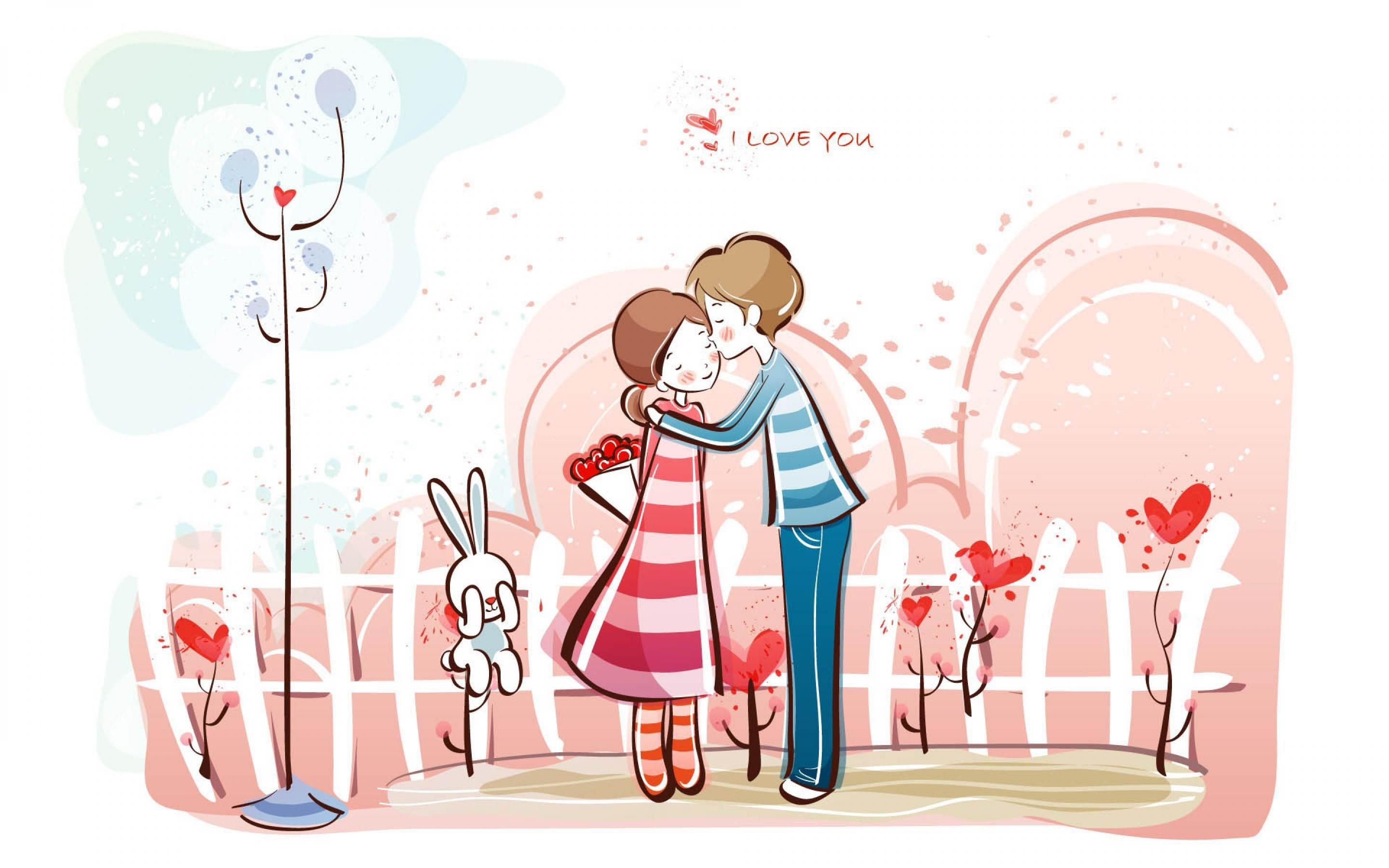 Sweet Valentines Day Kissing Couple Cartoon Wallpaper HD