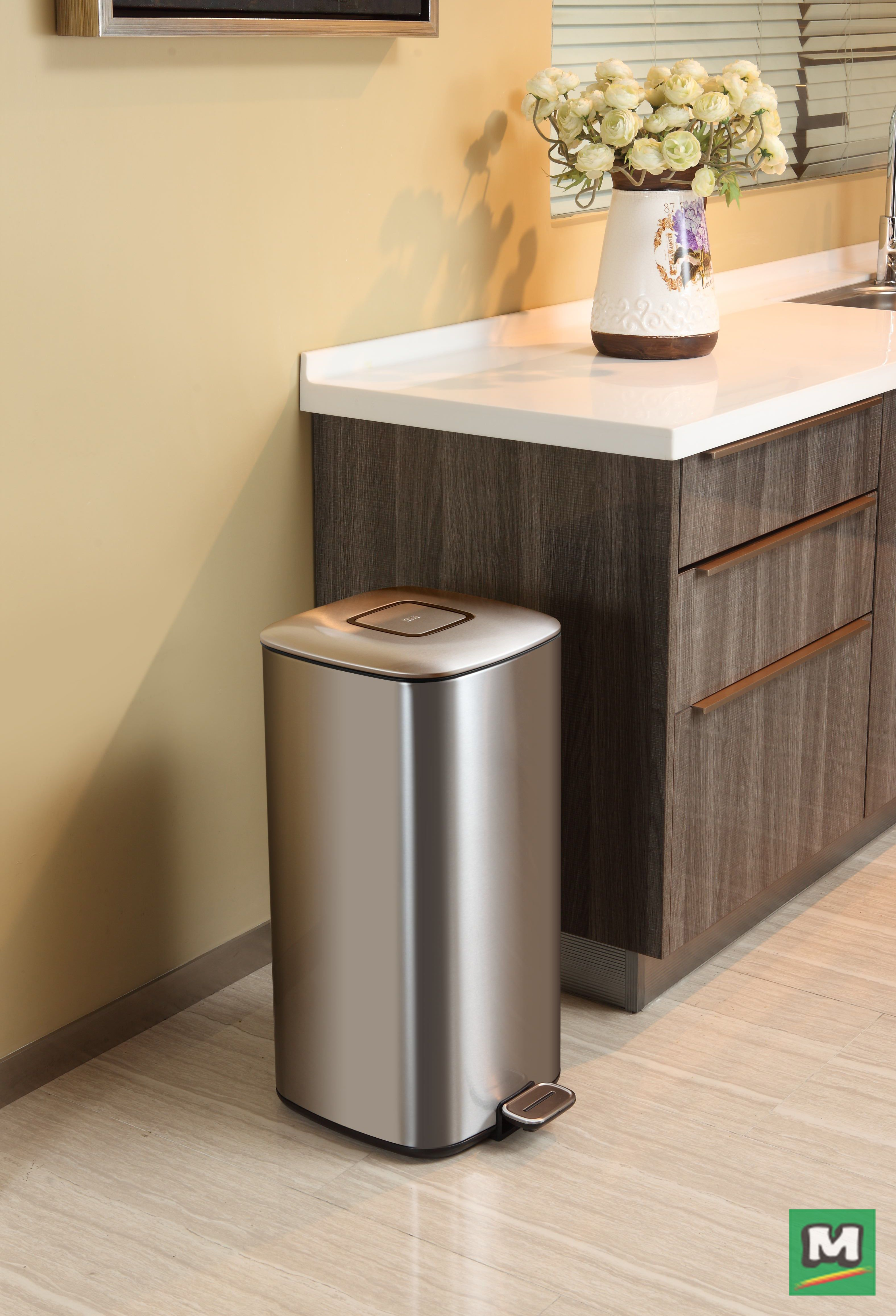 Tidy Up Your Kitchen With An EKO Regent 32 Liter Square Trash Can. Featuring