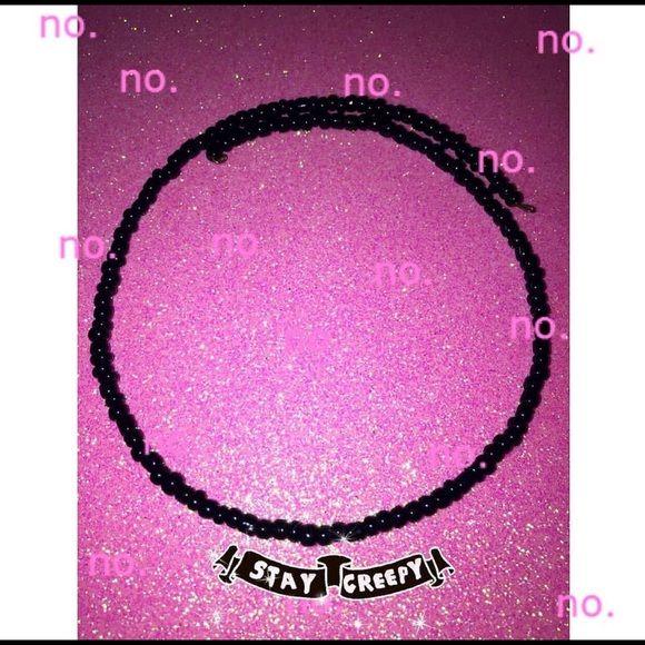 DaRkz bLacK cHokEr All black beaded choker looks killer on Moongypsy Jewelry Necklaces