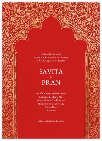Indian Wedding Invitations Online At Paperless Post Wedding