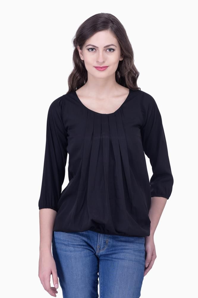 d545f49c9d432 Buy Black Solid Women Party wear office wear Casual Tops Tunics for Women  Online India