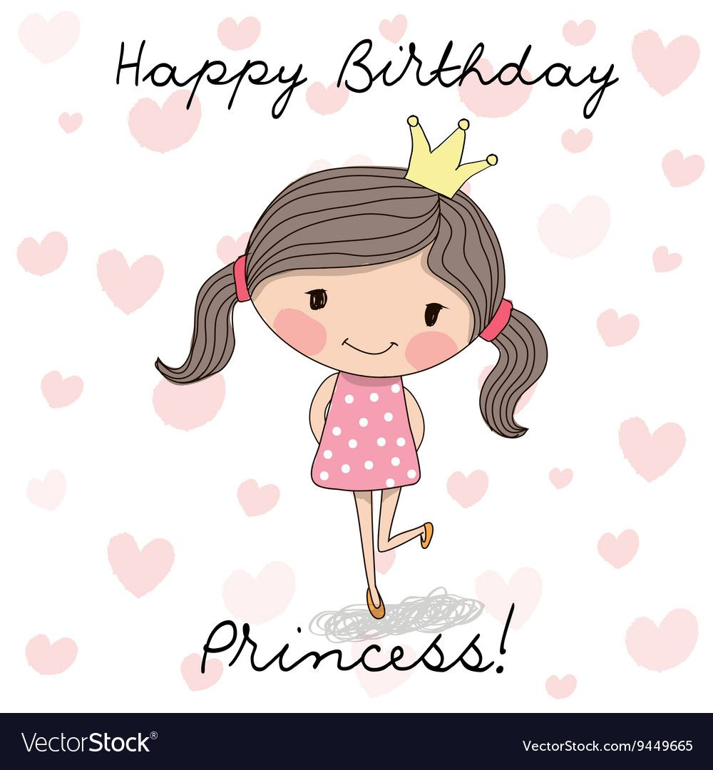 Happy Birthday Card With Cute Little Princess. Download A
