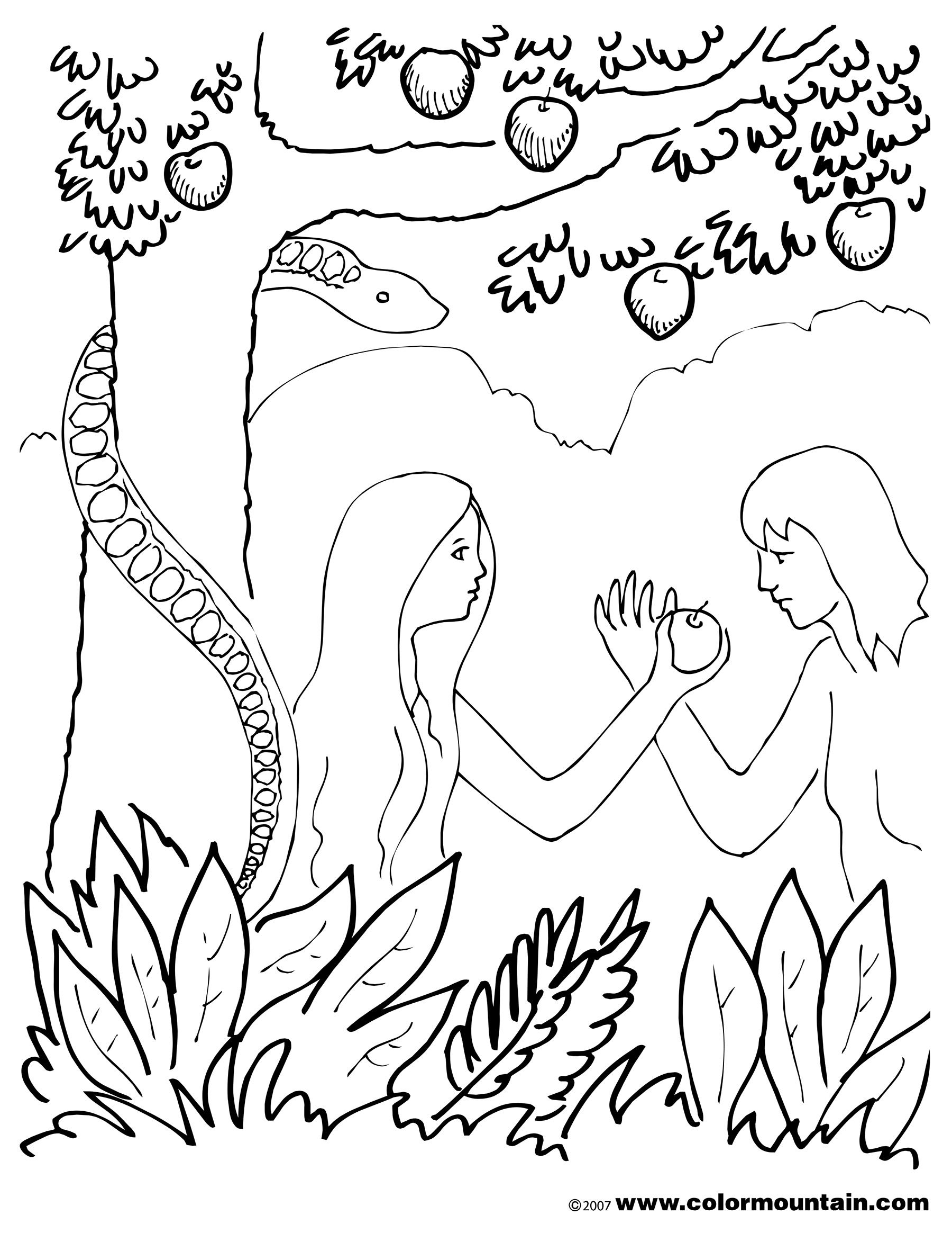 the serpent is tempting eve in the garden of eden with the forbidden fruit description - Garden Of Eden Coloring Page