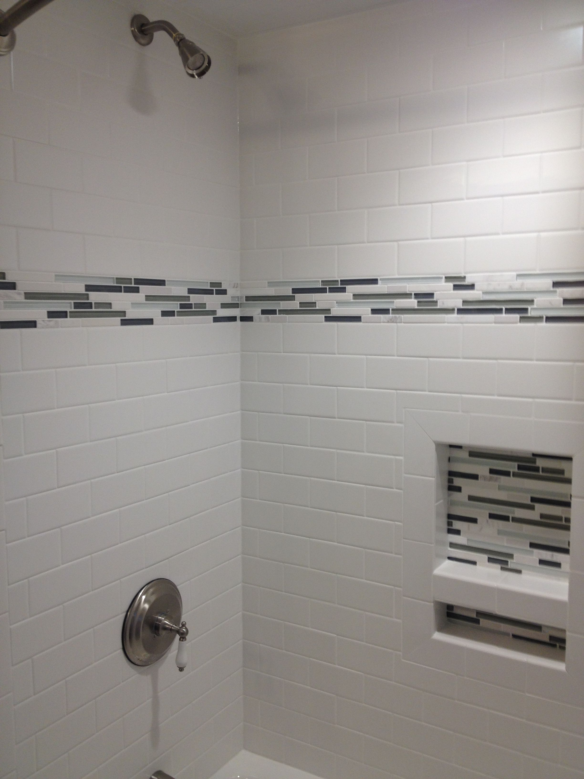 The new bathroom white subway tile with stone and glass for Bathroom accent tile ideas