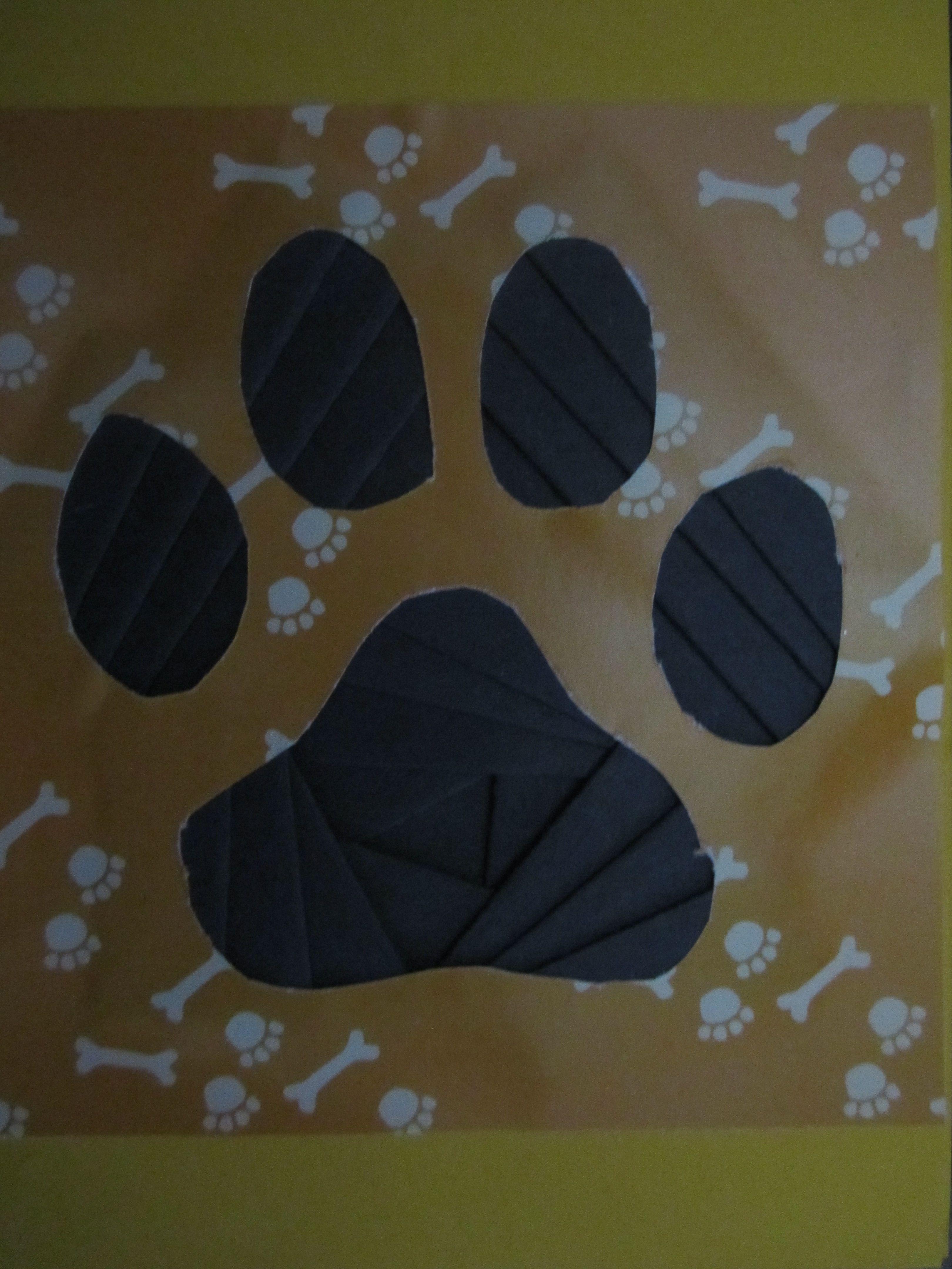 Iris paper folding paw print card wwwcaguimbalcreations