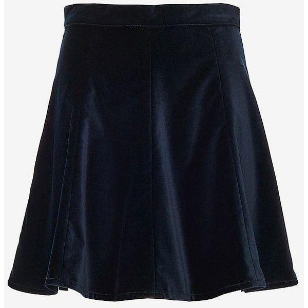 Rag & Bone Suki Velvet Skirt ($69) ❤ liked on Polyvore featuring skirts, blue velvet skirt, zipper skirt, circle skirt, rag bone skirt and flounce skirt