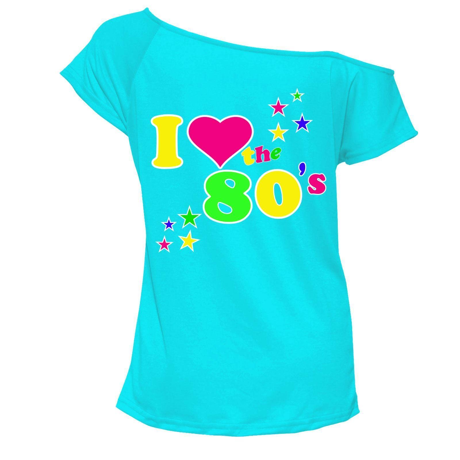 b45f783b Womens Ladies I Love The 80's T-Shirt Fancy Retro Casual Wear Top 6016455?  Lot#apos#Shirt#Womens
