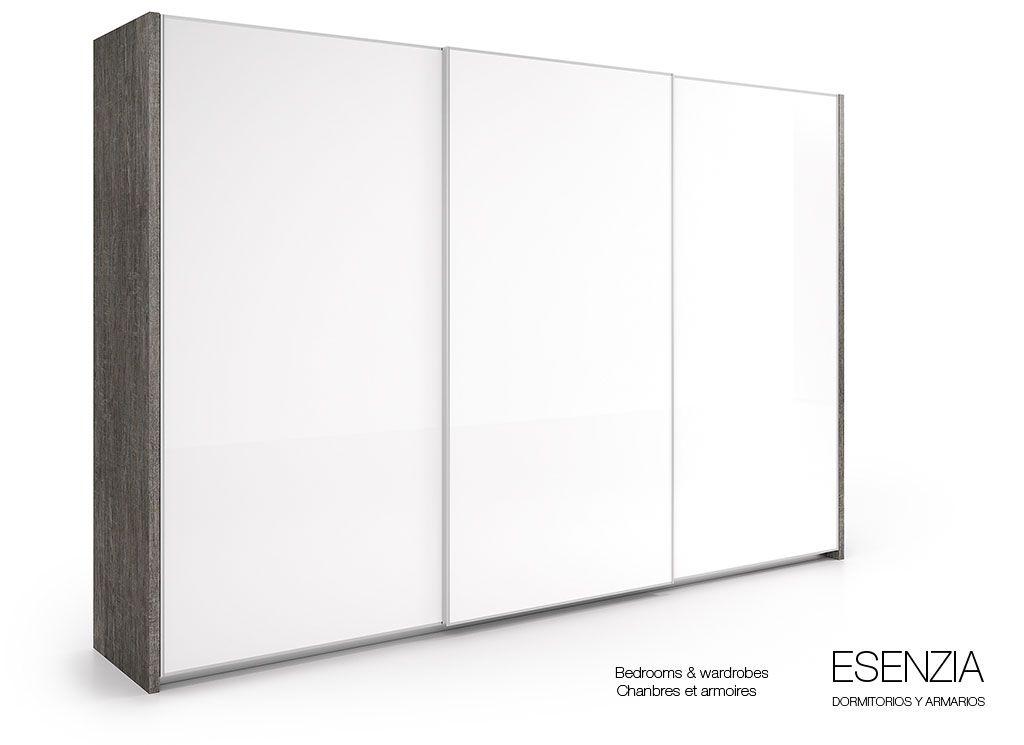 Armario de tres puertas correderas en color texturado gris - Mecanismos puertas correderas armarios ...
