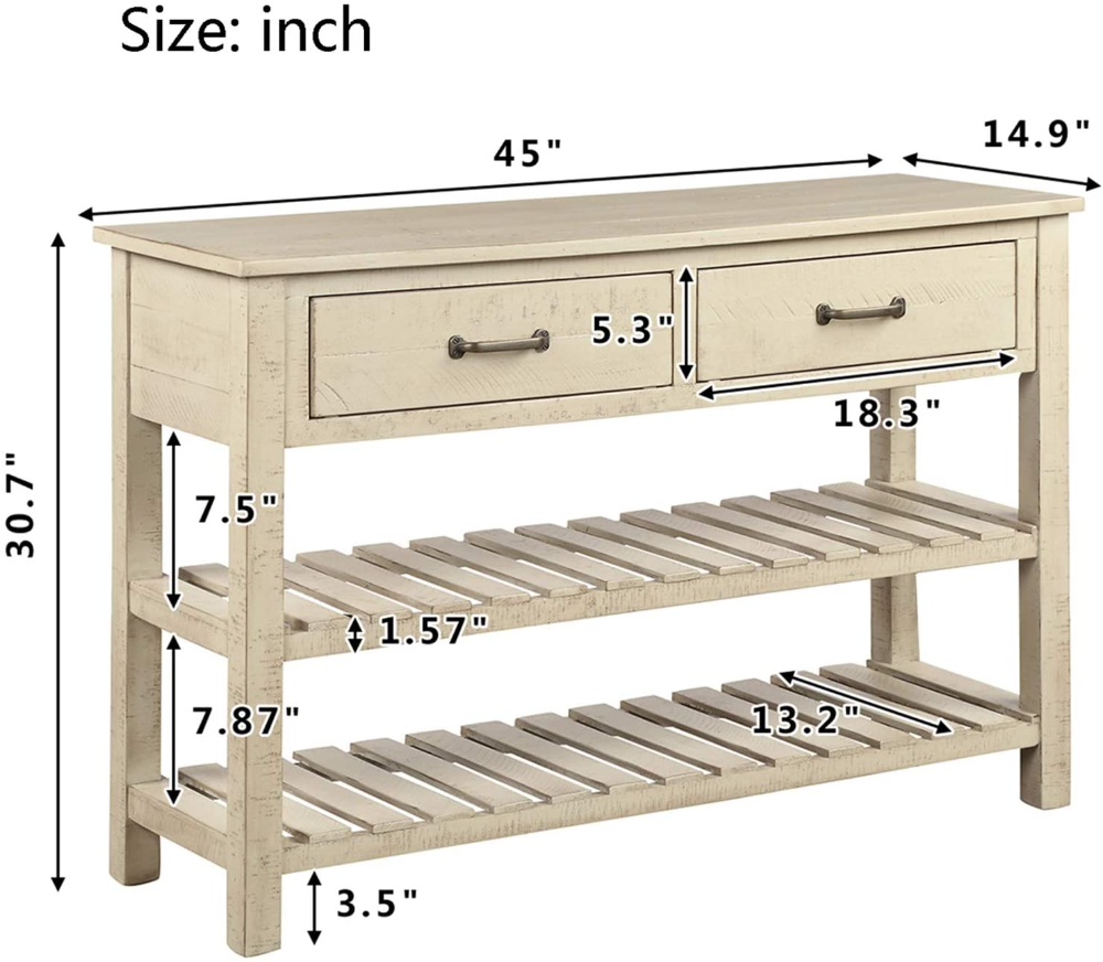 Amazon Com P Purlove Console Table Sofa Table With Drawers Console Table For Entryway With Drawers And 2 Tiers Sofa Table With Drawers Wood Shelves Sofa Table