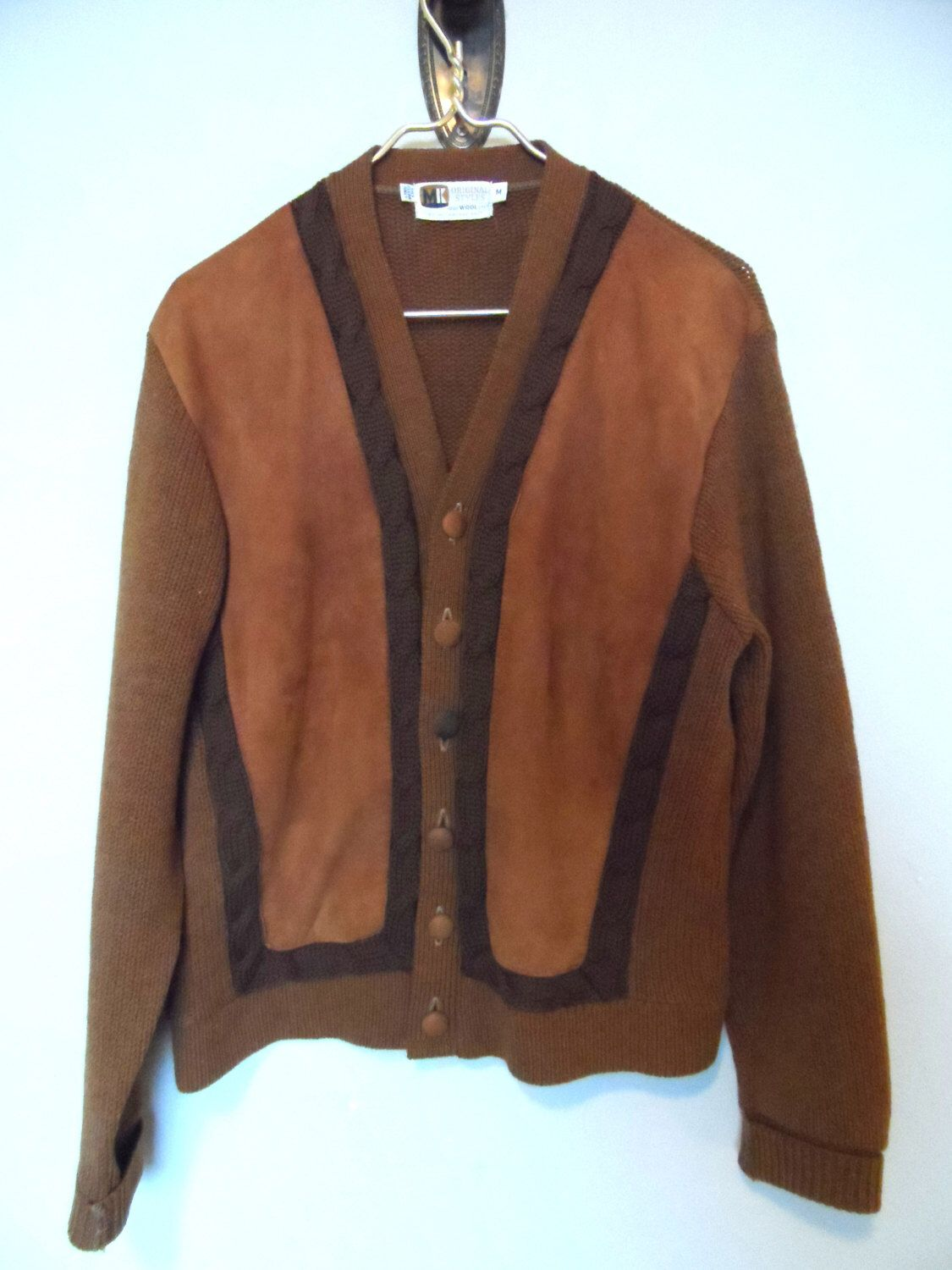 Vintage Men's Suede & Wool Cardigan Sweater* Size M . Genuine Leather  Suede .