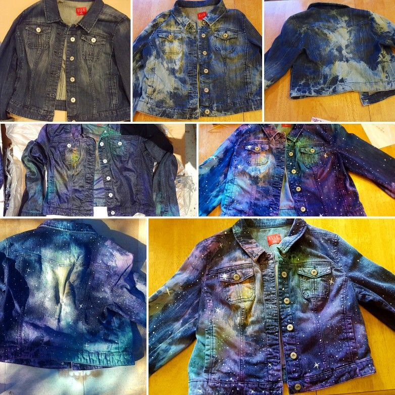 584ac7125d Denim galaxy diy. Tie dye bleach a denim jacket and add some colored dye.  Splatter or draw some white fabric paint where desired and tada!
