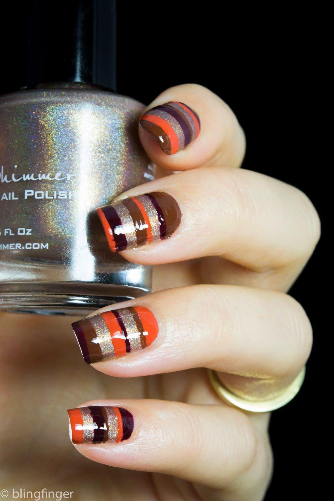 Blingfinger: Fall Stripes - Nail Art   It\'s like Leonardo Da Vinci ...