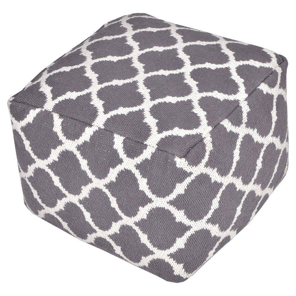 """Throw Floor Pouf Taj Jacquard Grey & White (18x18""""x14"""") - Vcny"""