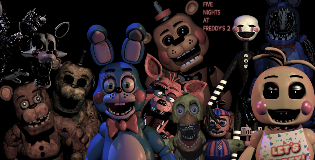 five nights at freddy s 2 all animatronics by thegoatgamer on