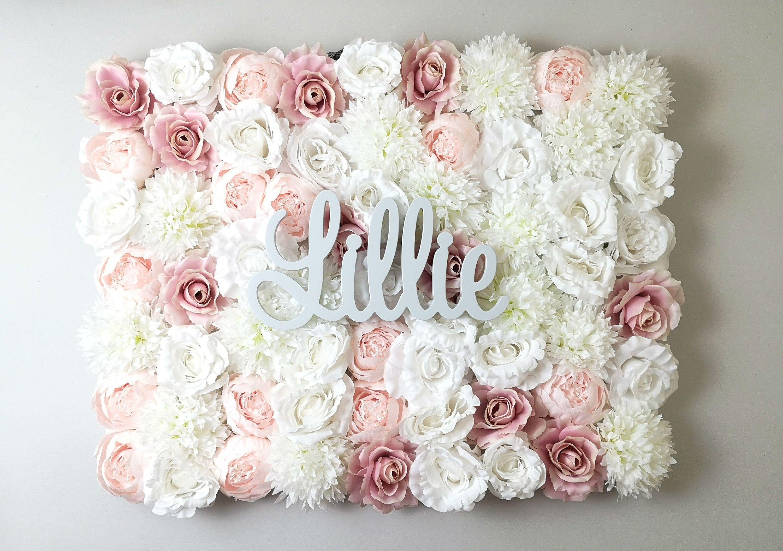 Blush Pink Flower Wall Flower Wall Panel Nursery Name Sign Etsy Flower Wall Wedding Flower Wall Flower Wall Decor