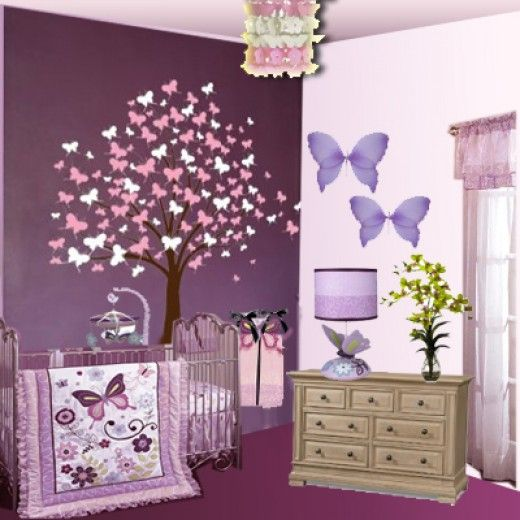 Butterfly Nursery Theme   With 5 Count Bedding Set, Butterfly Lane Parents  Who Love Purples