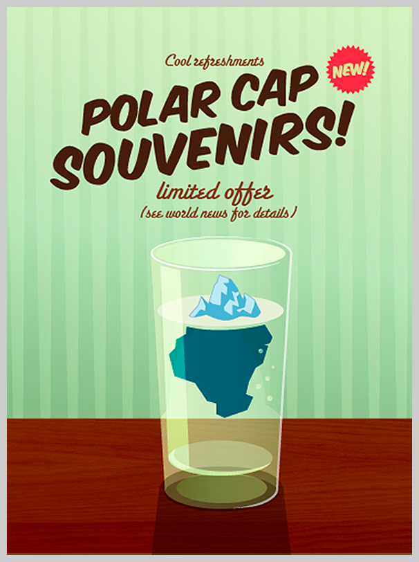 environmental awareness posters polar cap souvenirs