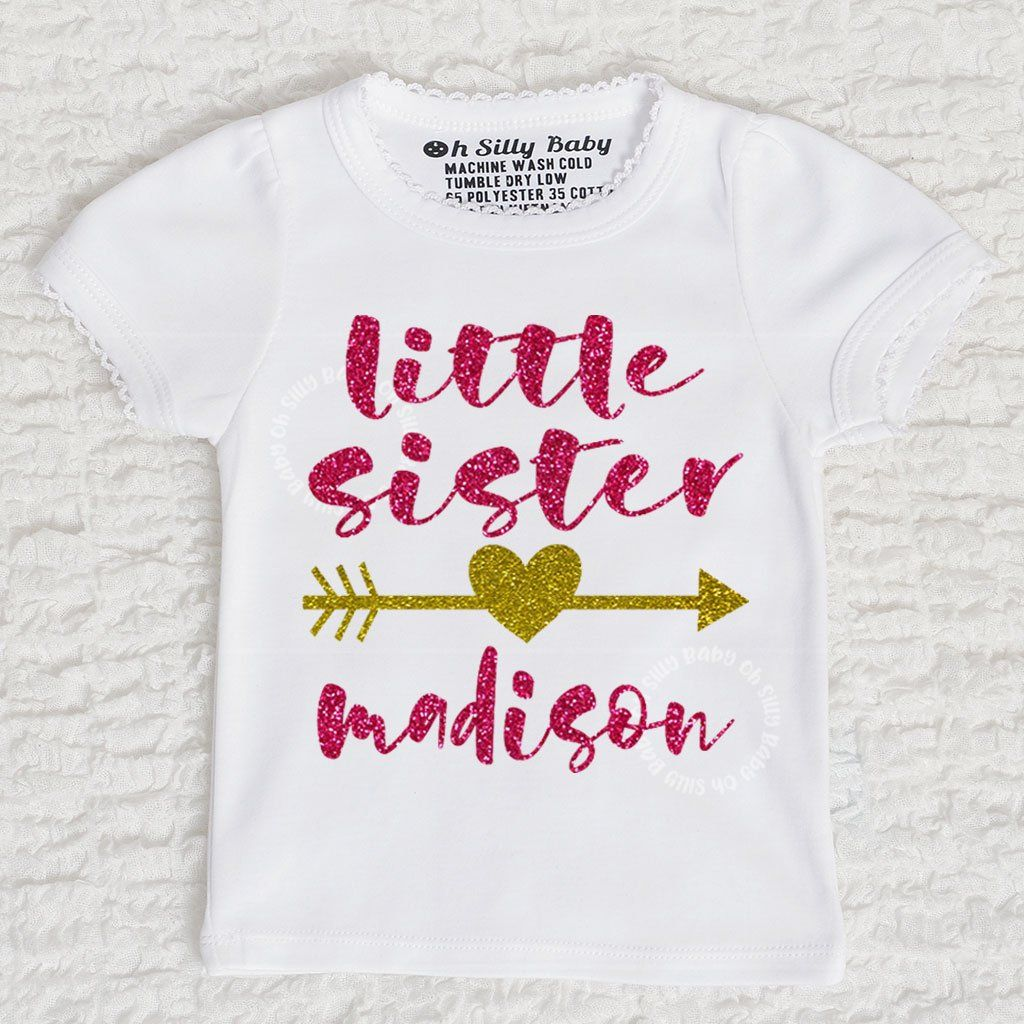 e51e9f438 Little Sister Personalized Glitter Bodysuit or Tee. Customize, handmade and  tagless for your child's comfort. Available in long sleeve and short sleeve.
