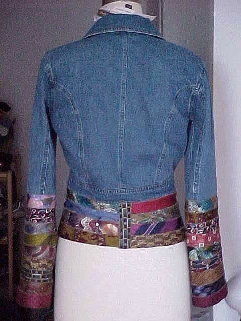 Embellishing a jean jacket with ties