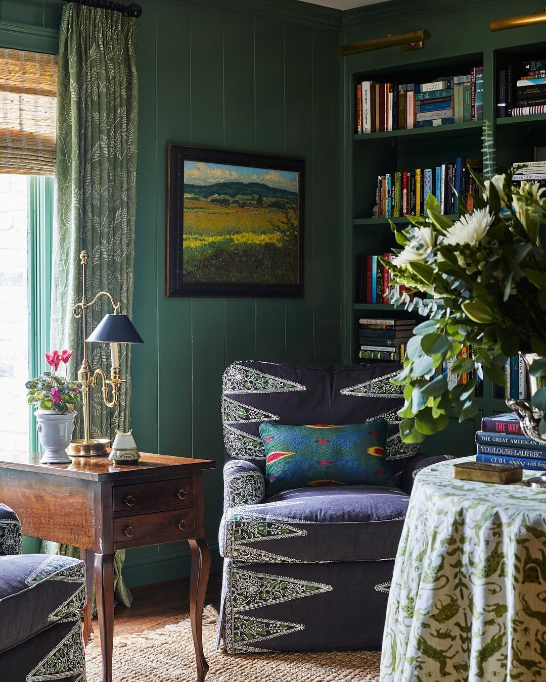 Green With Envy Over This Sunny Spot To Snuggle Up With A Good Book Dark Green Living Room Livingroom Layout Living Room Green