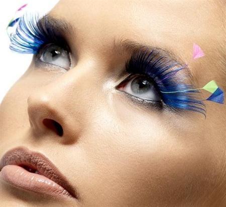 6fa75533be8 Blue, Pink and Yellow Feathers and Fake Eyelashes | Feather Eyelashes