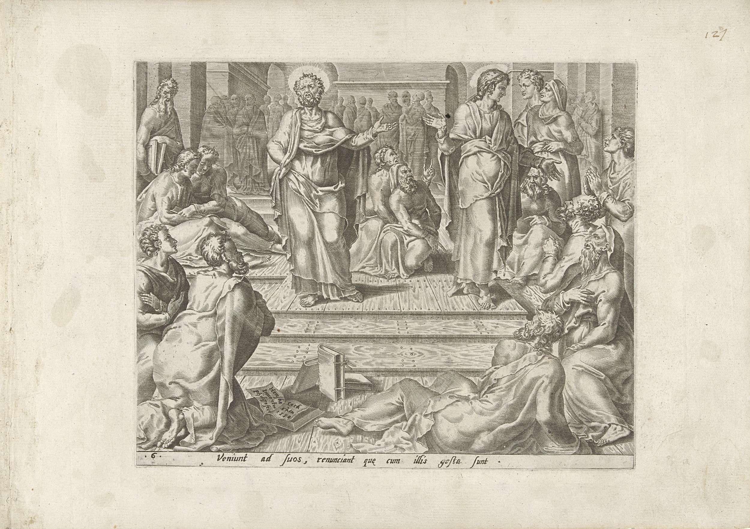 Philips Galle | Petrus en Johannes tussen hun leerlingen, Philips Galle, Hieronymus Cock, 1558 | Na hun vrijlating keren Petrus en Johannes terug naar hun leerlingen en vertellen wat er gebeurd is. Petrus en Johannes staan in het midden, om hen heen zitten mannen in groepjes op de grond.