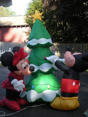 gemmy airblown inflatable mickey mouse minnie mouse decorating a christmas