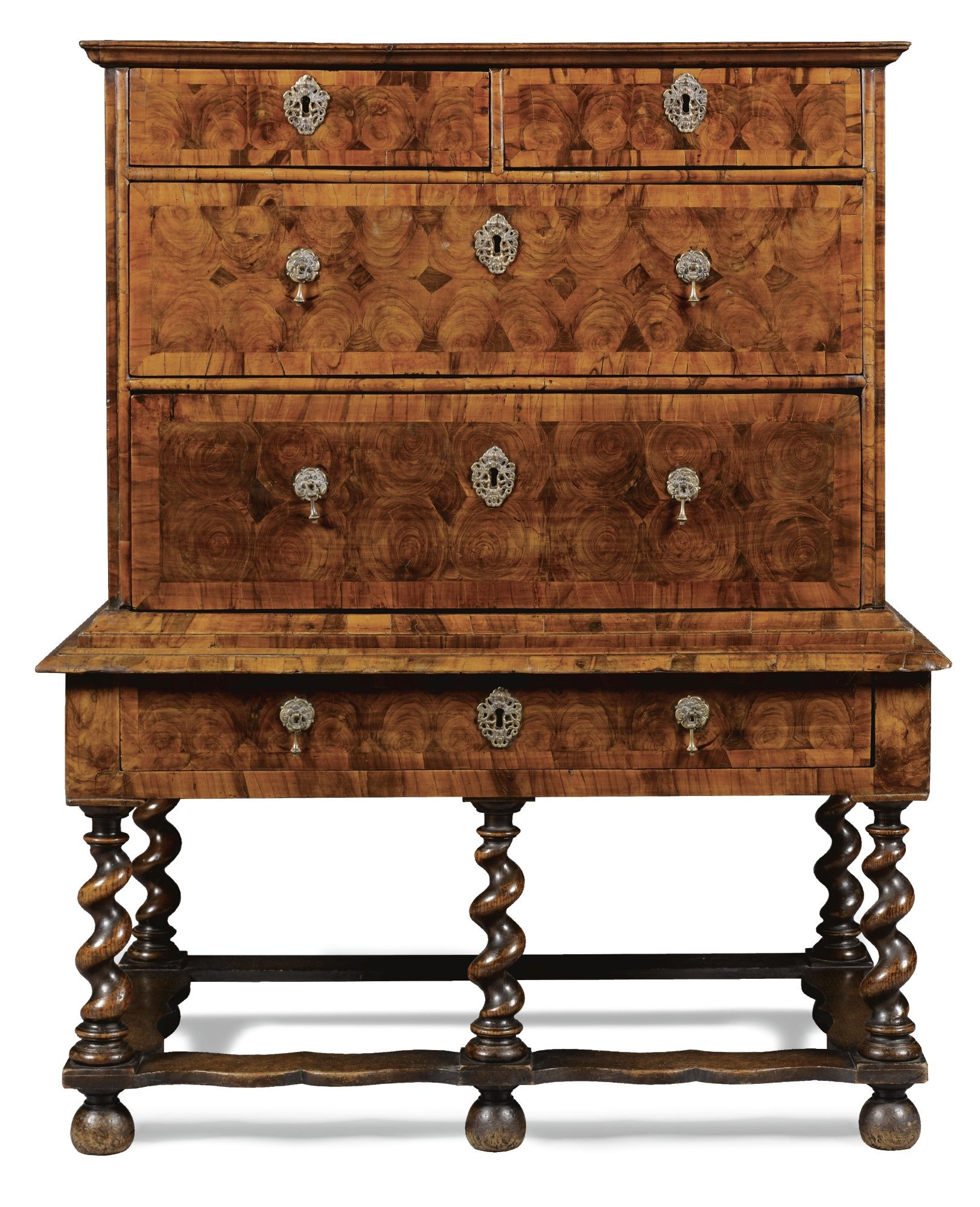 A William And Mary Oyster Veneered Olivewood Chest On Stand Br Late 17th Century Lot Early American Furniture English Furniture Furniture