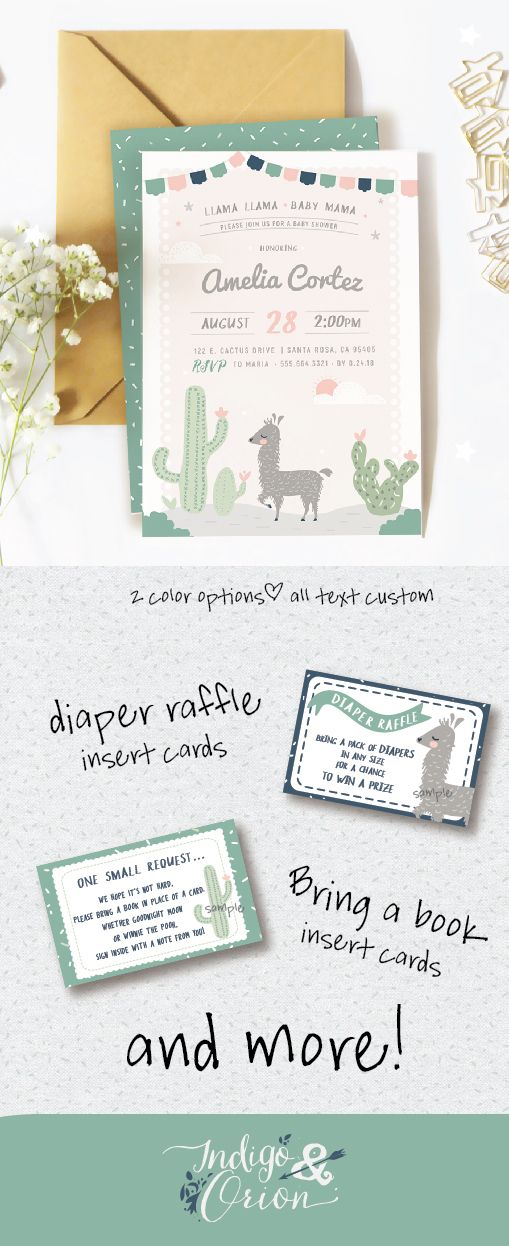 Llama Baby Shower Invitations Or Party Pack Baby Boy Or Baby Girl