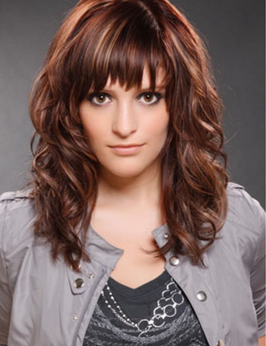 Medium Length Curly Hairstyles With Side Bangs