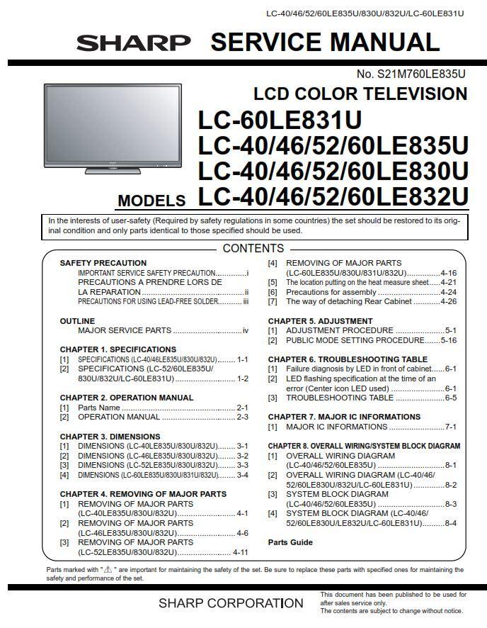 Sharp Lc 40le835u 46le835u 52le835u 60le835u Lcd Tv