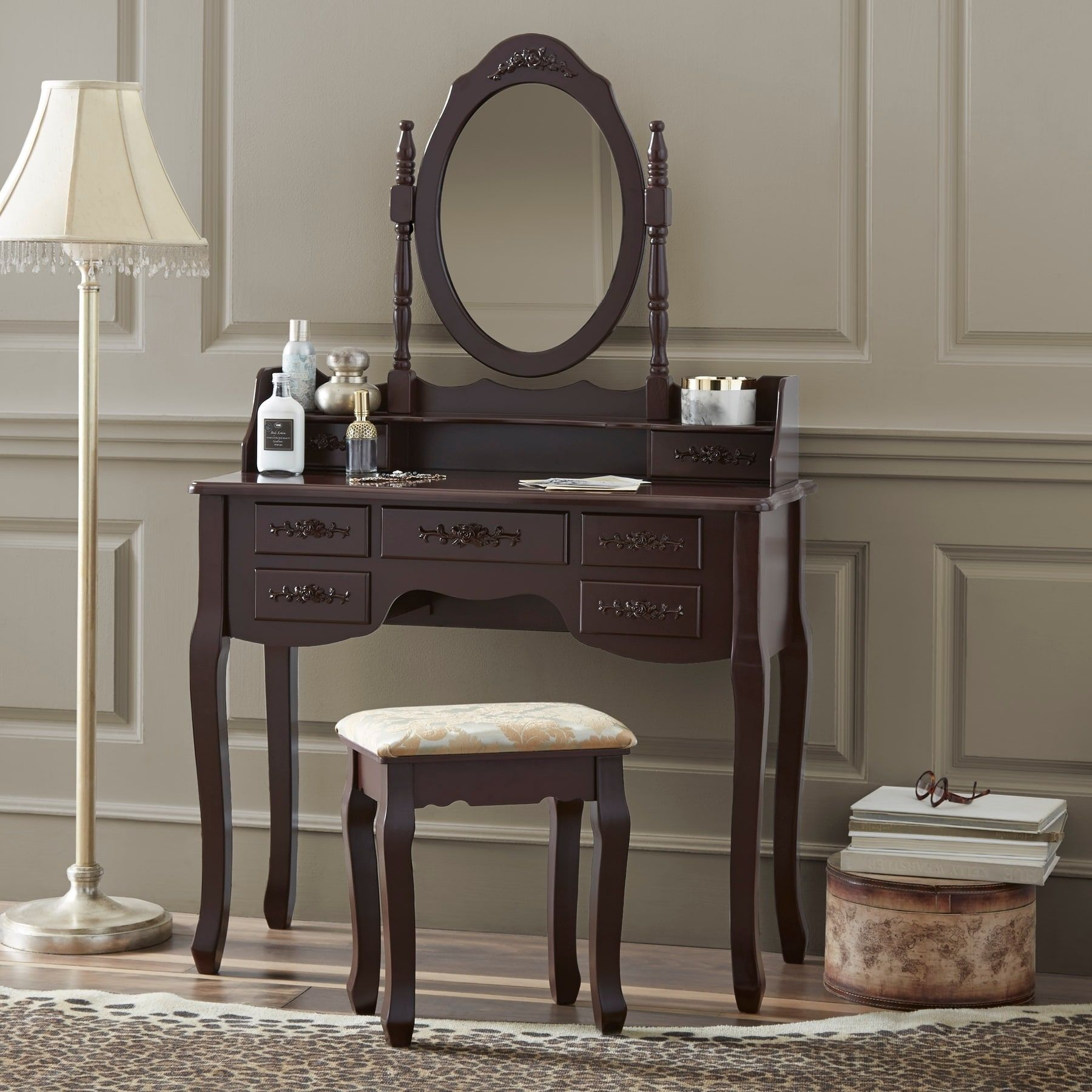Fineboard Vanity Set With Stool Mirror Makeup Table 7 Organization Drawers Single Oval Make Up
