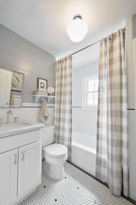 Gray shiplap gray buffalo check shower curtain our home