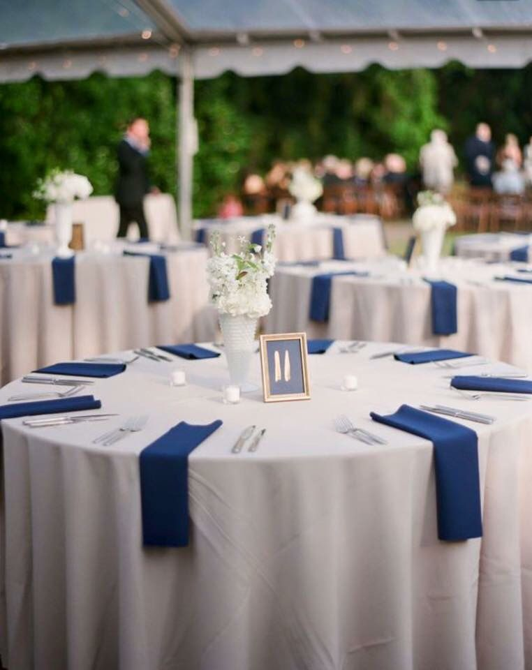 Royal Blue And White Table Setting For A Wedding Reception