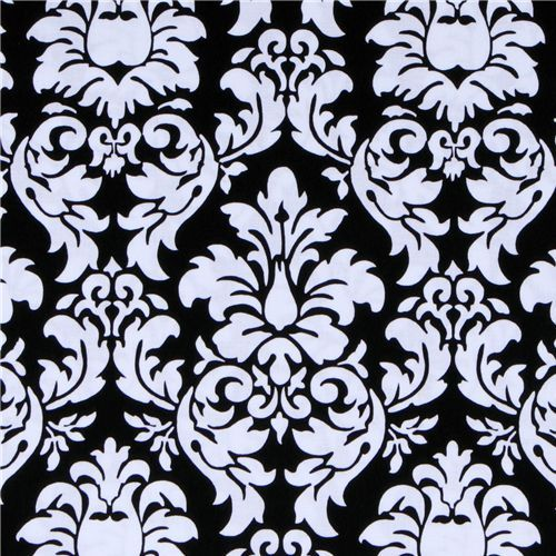 michael miller laminate oilcloth fabric dandy damask beautiful blackwhite fabric with ornaments from the usa