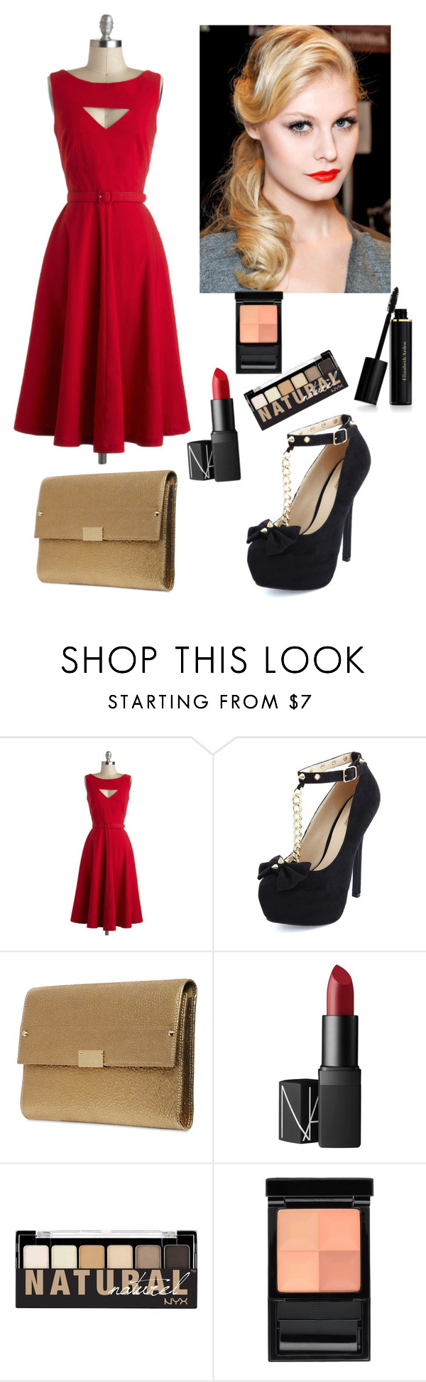 """You've Got the Love"" by megschritt ❤ liked on Polyvore featuring Bettie Page, Charlotte Russe, Jimmy Choo, Retrò, NARS Cosmetics, NYX, Givenchy and Elizabeth Arden"