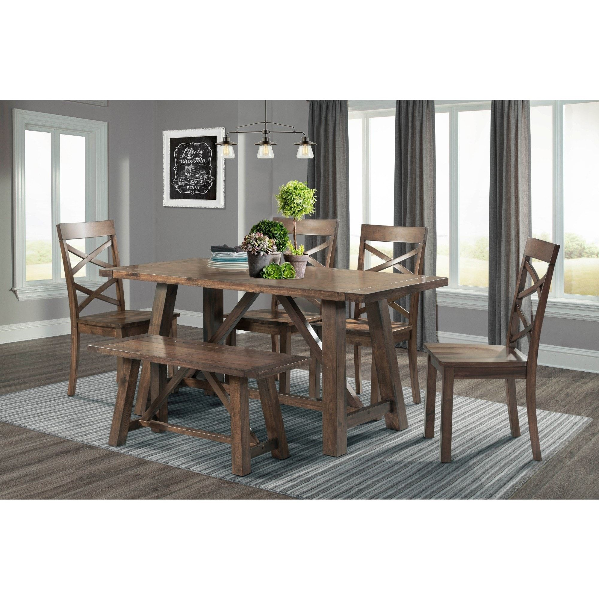 Delightful This Modern Farmhouse Table U0026 Bench Features Trestle Style Legs, While The  Dining Chairs Elevate This Set With Their Intricate ... Good Looking