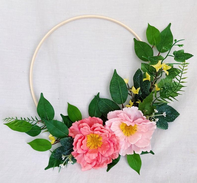 Photo of modern embroidery hoop wreath / green pink flower hoop wreath / baby nursery / bedroom / gallery wall decoration / green hoop wreath
