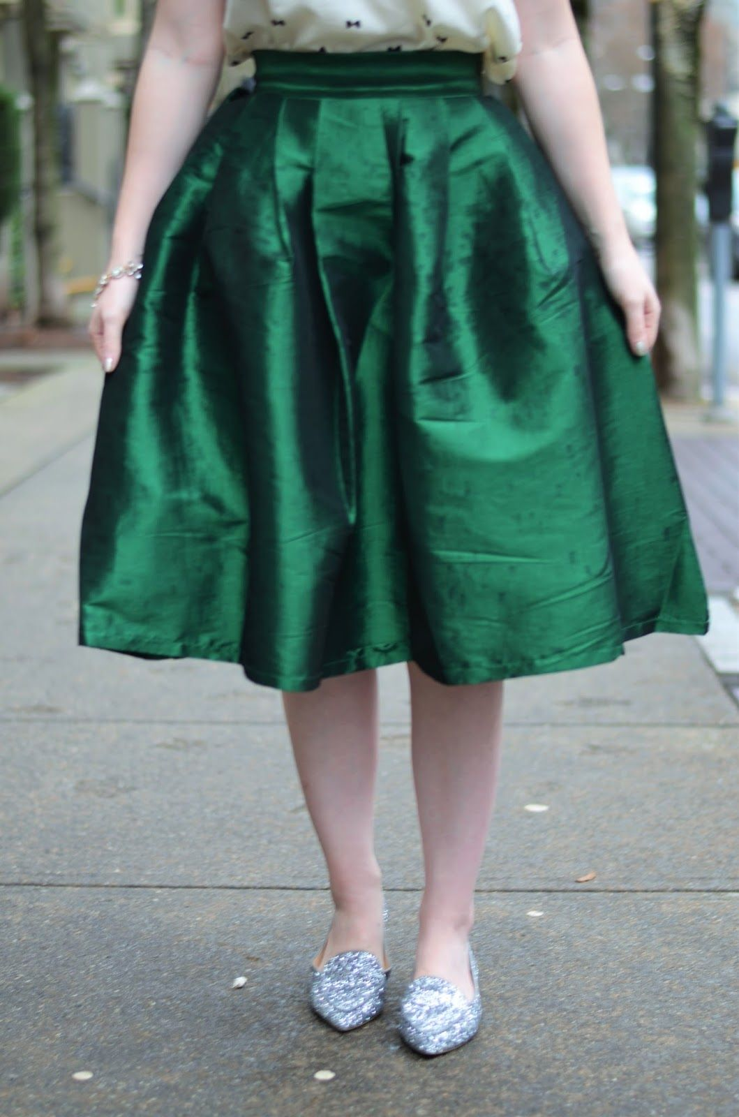 Vancouver Vogue: Holiday Outfit Inspiration - full green skirt @value