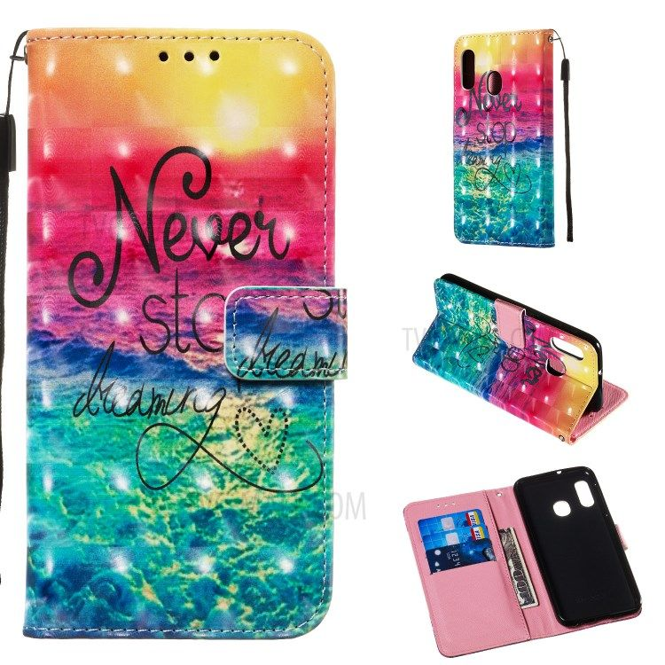 3d Painting Pattern Leather Phone Case With Card Wallet Slots For Samsung Galaxy A20e A10e Rainbow Ocean Phones Samsung Tablet Samsung Hulle Samsung A30
