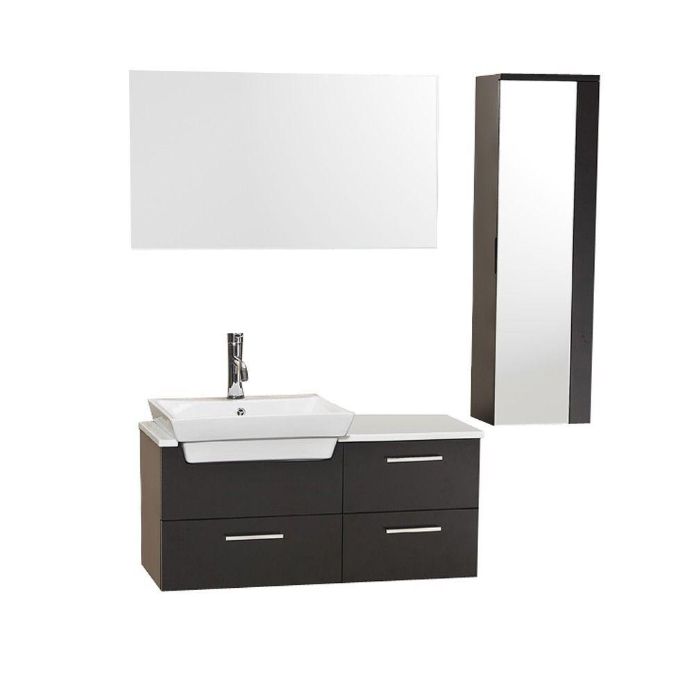 Fresca Caro Espresso Modern Bathroom Vanity w/ Mirrored Side Cabinet ...