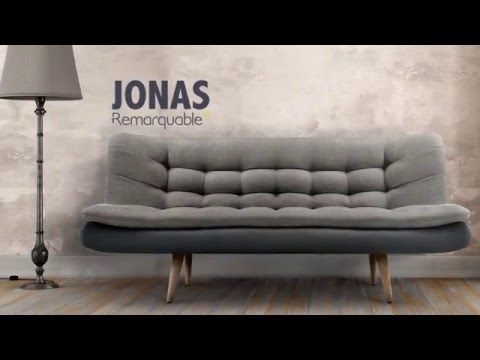 canap scandinave convertible avec surmatelas jonas de la marque remarquable canap. Black Bedroom Furniture Sets. Home Design Ideas