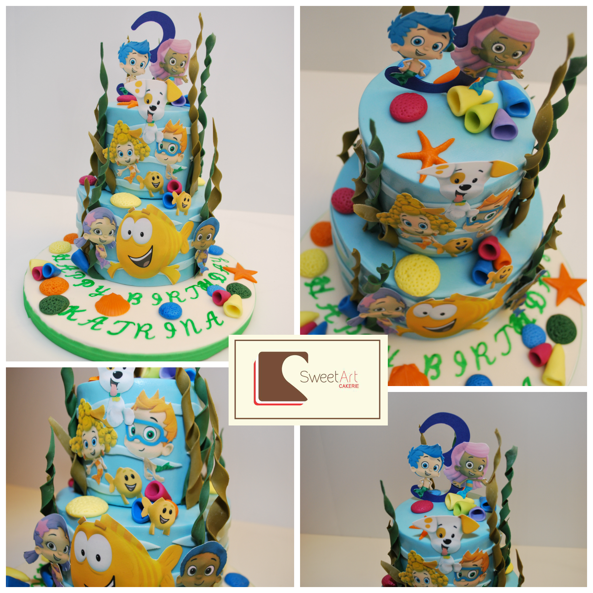 Bubble Guppies cake with edible images Bubble guppies
