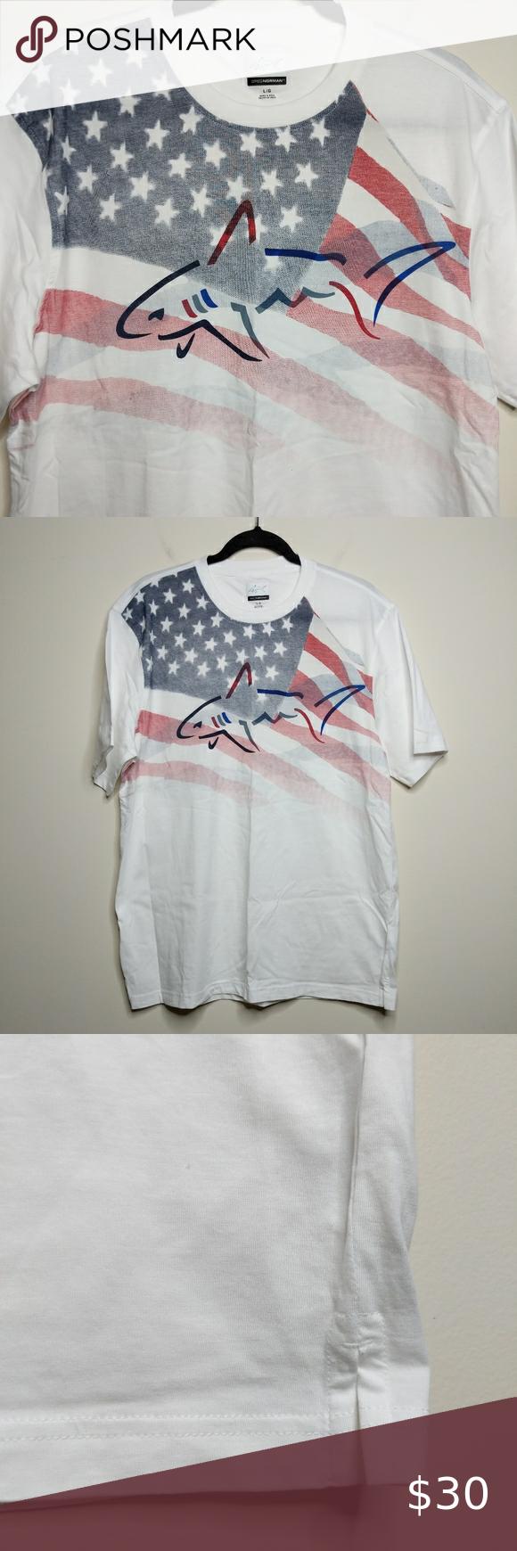 Greg Norman American Flag Tee Size L Euc In 2020 American Flag Tee Flag Tee Clothes Design