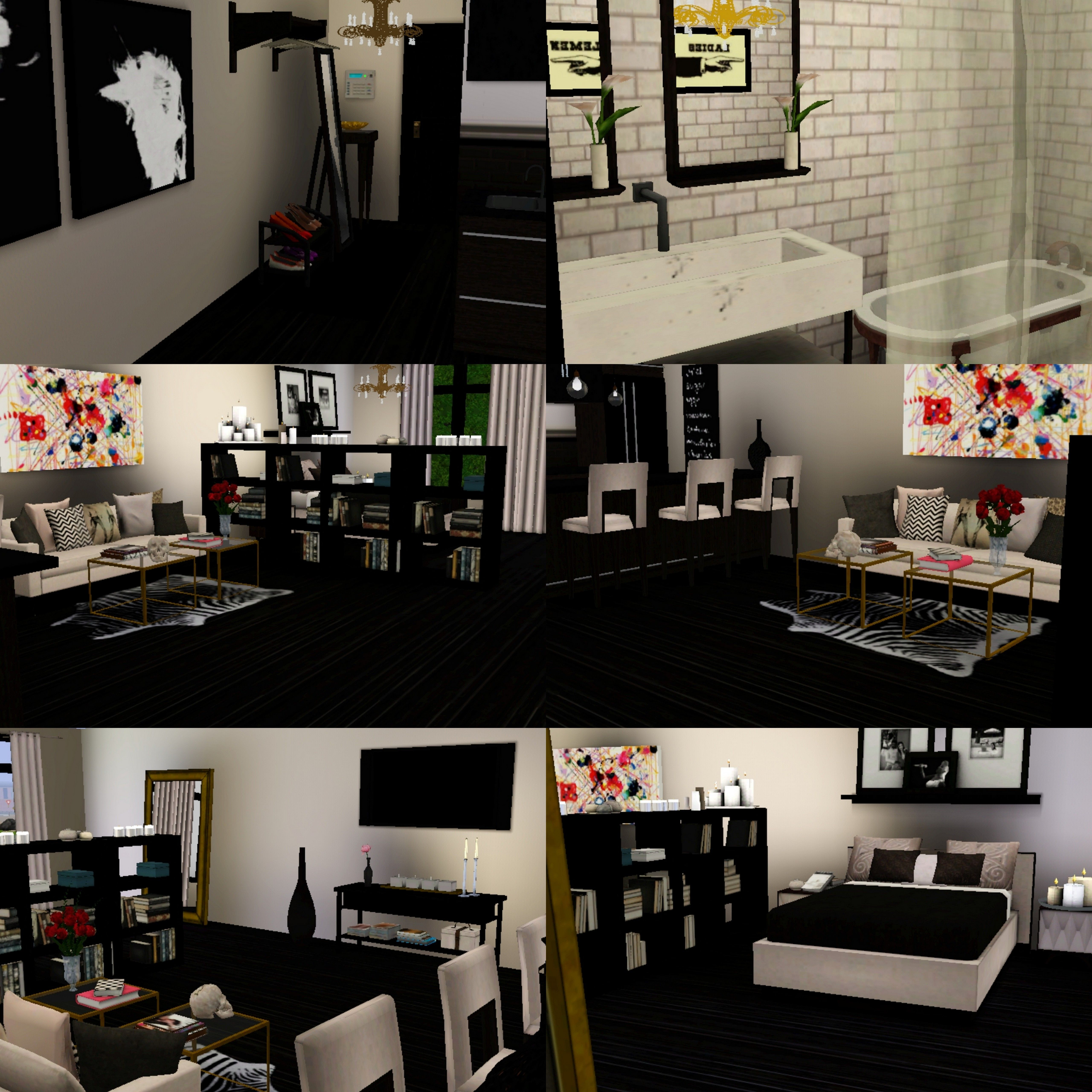 My dream studio apartment Black grey beige white and brown interior with colorful elements