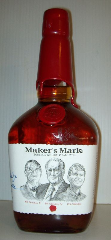 Another from my collection - This is the Maker's Mark Founder's Bottle special release. The bottle features a portrait of the founders on the front along with their signatures (as seen in the above picture) on the side of the bottle.