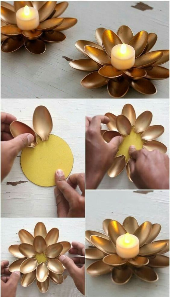 Diy Home Decoration Furniture Wall Decoration Decorative Painting Hanging Storage Living Room Bedroom Diy Spoon Crafts Plastic Spoon Crafts Diy Candles